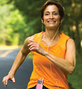 Woman running with earbubs